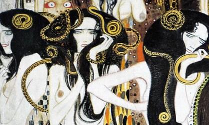 Gustav Klimt, Beethovenfries (particolare): Die drei Gorgonen