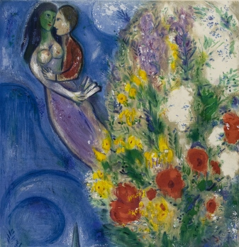 Chagall - Pair of lovers and flowers